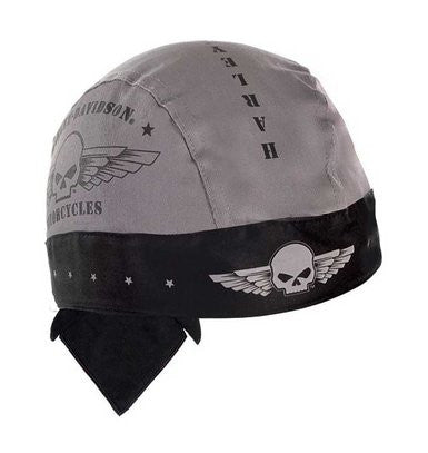 HW04475 H-D® Mens Willie G Skull Military Wings Grey Cotton Headwrap