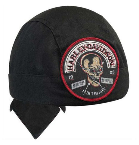 HW12930 H-D® Men's Edgy Skull Rocker Stitched Patch Headwrap