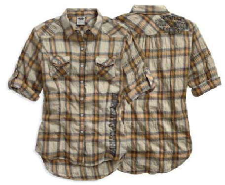 96017-15VW H-D Women's Plaid Woven Shirt. Tea Stain Wash