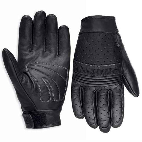 98207-16VM H-D Men's Avalon Perforated Leather Gloves