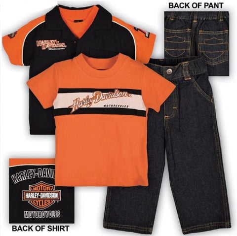 0372344 H-D® Boy's Toddler 3 Piece Prestige Pit Crew Shirt & Denim Pant Set