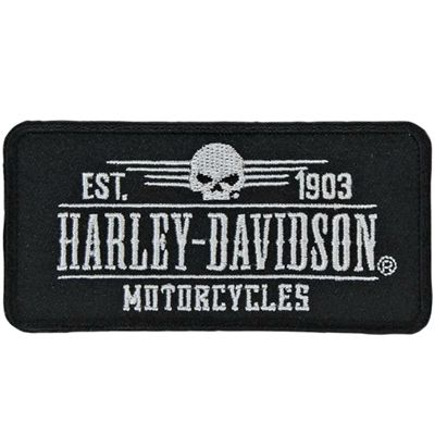 EM222882 H-D Grunge Skull Emblem Small Patch