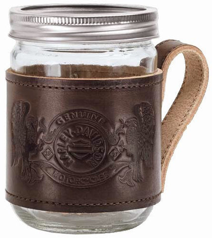 96889-15V - Manson Jar W/Leather Holder