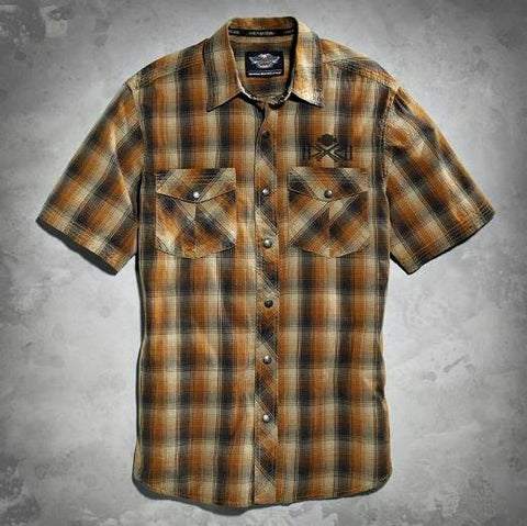 96004-16VM H-D® Men's Plaid Woven Cotton Shirt