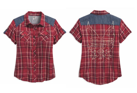 96006-18VW   H-D Women's Denim Accent Winged Banner with B&S Plaid Short Sleeve Woven Shirt