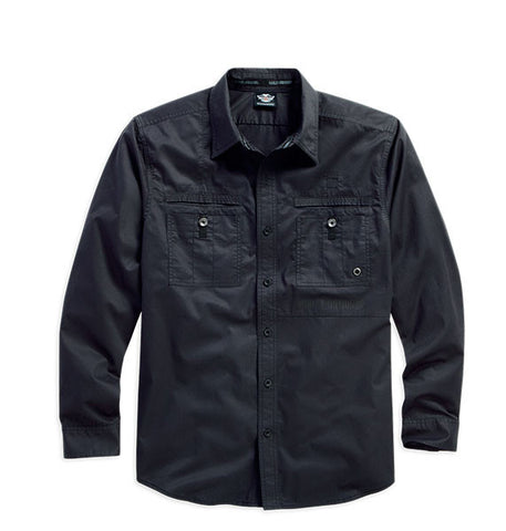 96022-16VM   H-D® Men's Eagle B&S Washed LS Woven Shirt