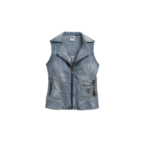 96029-17VW Harley-Davidson Women's Pieced Denim Vest