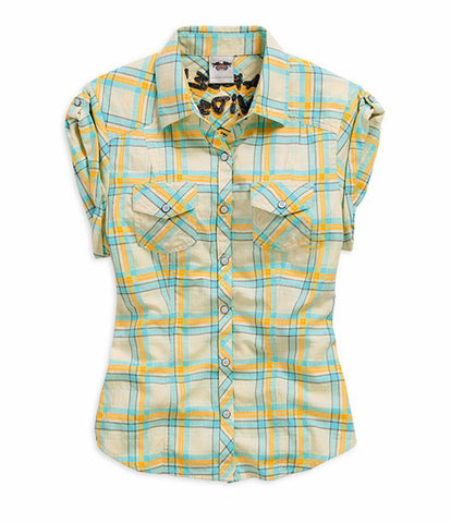 96035-15VW H-D® Women's Butterfly B&S Plaid SS Woven Shirt