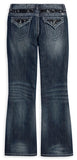 96036-13VW H-D Lace Embellished Boot Cut Denim Jeans