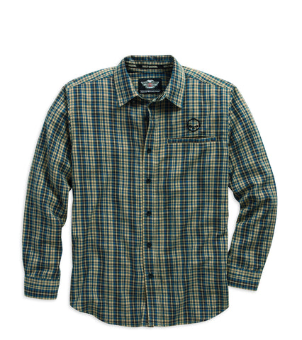 96036-16VM H-D® Men's Willie G Skull Flannel LS Woven Shirt