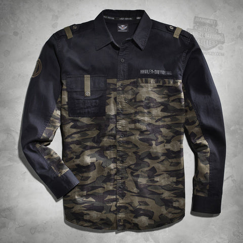 96037-16VM H-D Mens Camo Colorblocked Washed Long Sleeve Woven Shirt