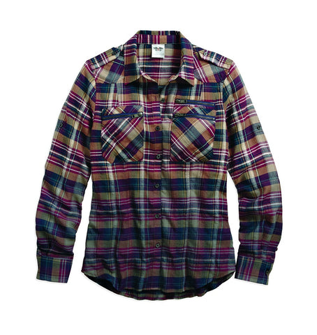 96044-17VW H-D Womens Dip Dyed Crinkle Look Convertible Plaid Long Sleeve Woven Shirt