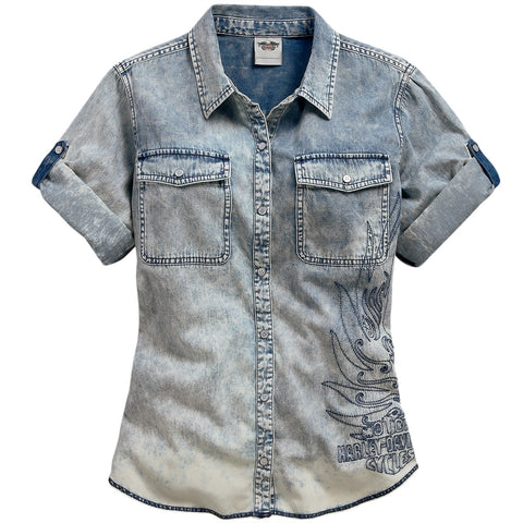 96053-15VW H-D Womens Vintage Wash Rope Dyed Convertible Sleeve Blue SS Woven Shirt