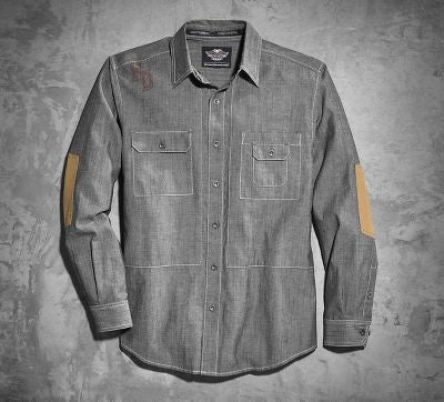 96059-16VM Harley-Davidson Men's Elbow Patch Woven Shirt