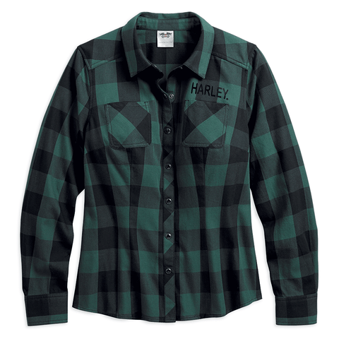 96070-18VW Harley-Davidson® Women's Classic Twill Plaid Shirt, Green & Black