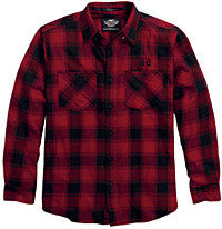 96081-16VM H-D® Mens Embroidered Flannel Red Plaid Long Sleeve Woven Shirt