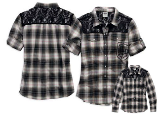 96106-16VW H-D® Women's Lace Yoke Convertible Roll Tab Sleeve LS Woven Shirt