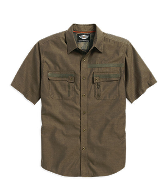 96108-16VM H-D Mens Wrinkle-Resistant Twill Tape Brown Short Sleeve Woven Shirt