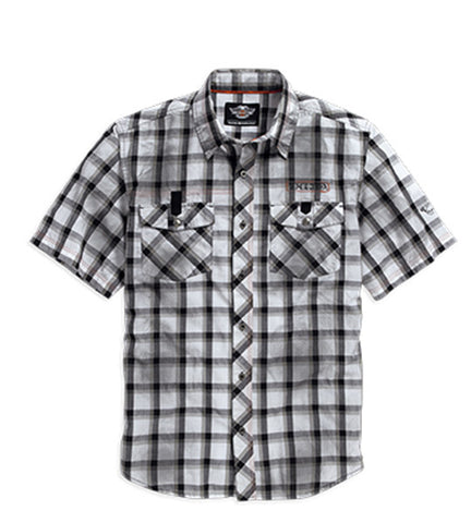 96109-16VM Mens Performance Dirty Wash H-D Wings Plaid Short Sleeve Woven Shirt