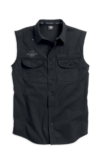 96111-16VM H-D® Mens Flame Skull with B&S Black Sleeveless Blowout