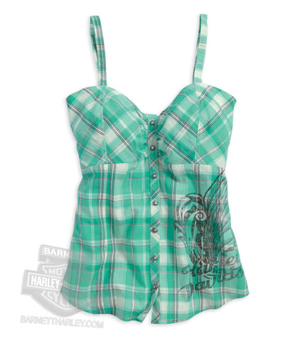 96133-14VW H-D Womens Flourish Wing Adjustable Straps with Stretch Back Plaid Sleeveless Cami