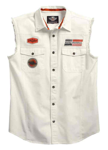 96158-16VM H-D Men's SYN3 Sleeveless Snap Front Blowout