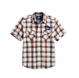 96159-16VM H-D Men's Est. 1903 Textured Plaid Woven Shirt, White