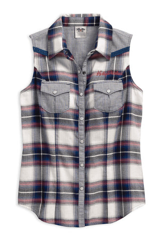 96162-17VW H-D Womens H-D Wings Enzyme Wash Plaid Sleeveless Woven Shirt