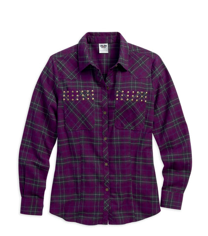 96166-16VW H-D® Women's Studded Purple Flannel Shirt