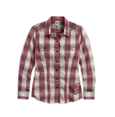96185-16VW H-D Crowned Heart Plaid Shirt