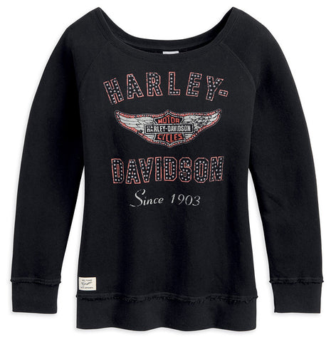 96186-13VW H-D® Womens French Terry Wide Neck Wing Logo Black LS Knit Shirt