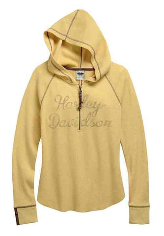 96231-16VW H-D Women's 1/4-Zip Waffle Knit Henley Shirt, Yellow