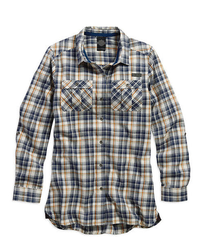 96275-16VW H-D Roll-Tab Sleeve Plaid Tunic
