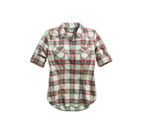 96294-16VW H-D Roll-Tab Sleeve Plaid Shirt