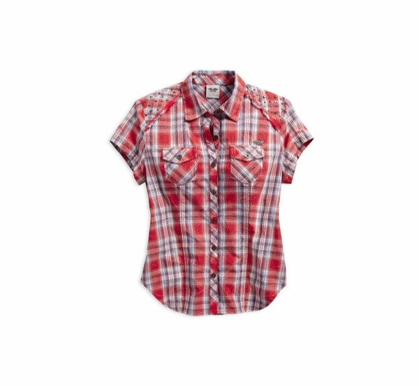 96309-16VW H-D Women's Embellished RWB Short Sleeve Plaid Shirt