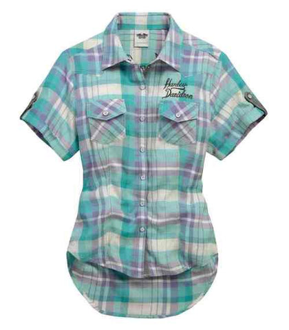 96360-15VW H-D Women's Woven Shirt, Heart & Dagger Plaid, Blue