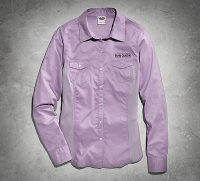 96361-15VW H-D® Womens HDMC Motors Purple LS Woven Shirt