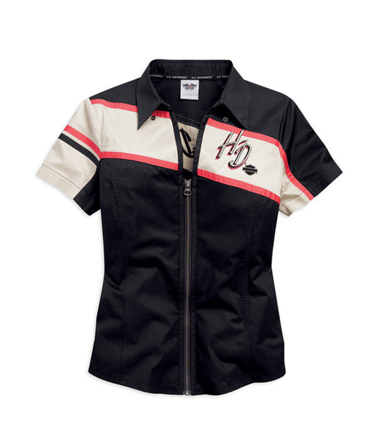 96384-15VW HD Zip Up Short Sleeve Woven Shirt