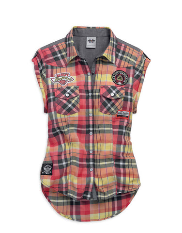 96387-15VW HD Ladies Plaid and Patches Sleeveless Shirt