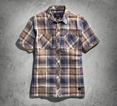 96413-15VM H-D® Men's Wolf Back Graphic Plaid SS Woven Shirt