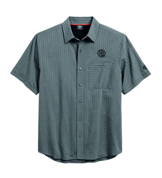96415-18VM * H-D Men's Vented Performance Shirt | Textured Stripe | Short Sleeves