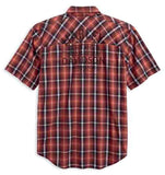 96417-18VM H-D Mens Graphic Snap Front Plaid Short Sleeve Woven Shirt