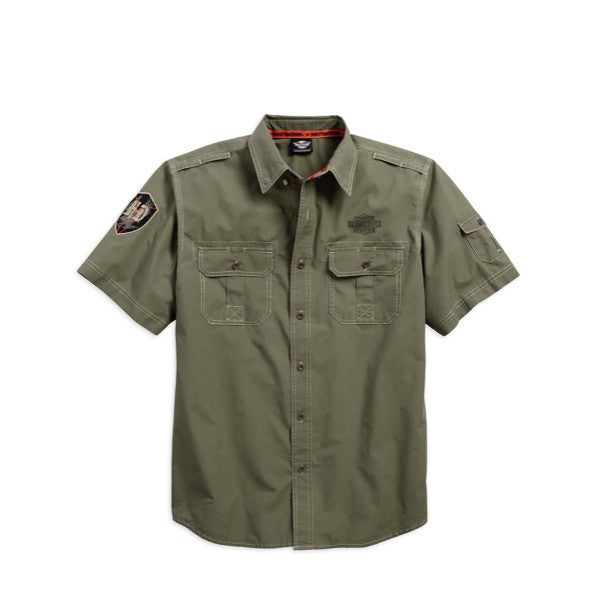 96423-17VM H-D Shadow Eagle Poplin Shirt
