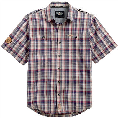 96466-15VM - H-D® Skull Patch Plaid Shirt