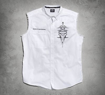 96483-15VM Harley-Davidson® Mens Pinstriping Willie G Skull with B&S White Sleeveless Blowout