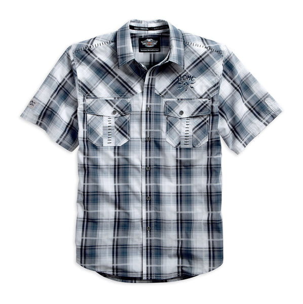 96489-15VM H-D Mens Whipstitched Detail Peached Finish Plaid Short Sleeve Woven Shirt