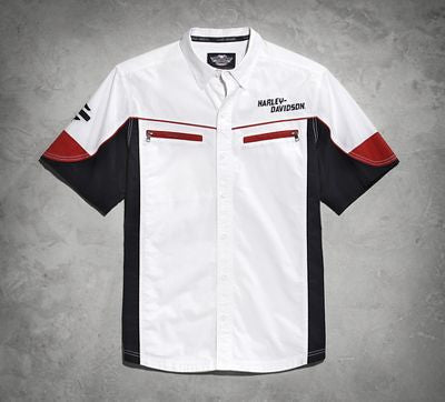 96490-15VM Harley-Davidson® Mens Colorblocked Garage White Short Sleeve Woven Shirt