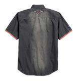 96515-17VM H-D Men's Contrast Accent Distressed Woven Shirt, Asphalt