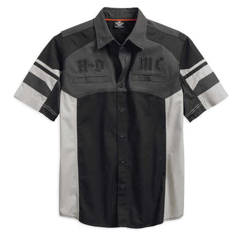 96601-17VM H-D Men's Performance Vented Colorblocked Woven Shirt