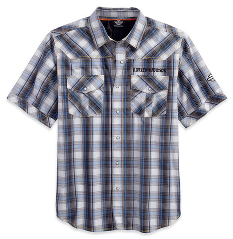 96609-17VM H-D Men's Performance Vented Back Plaid Woven Shirt